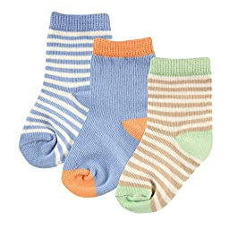 Hudson Baby Touched By Nature Organic Socks 3 Pack, Blue, 6-12 Months