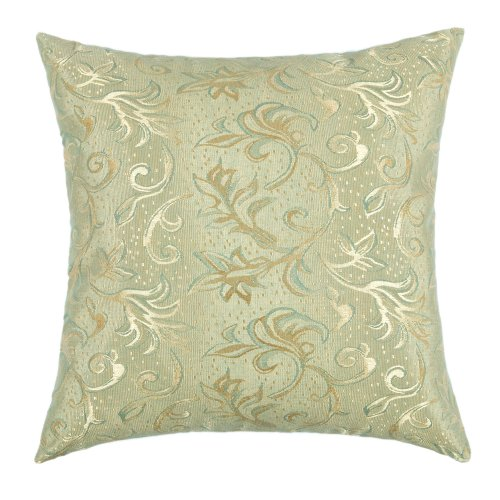 "Euphoria Home Decorative Cushion Cover Throw Pillow Case Shell Teal Gold Leaves Jacquard 18"" X 18"" front-993975"