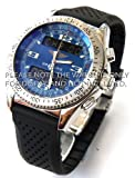 22mm Heavy Duty Silicon Rubber Divers Watch Strap on Stainless Steel Deployment Fits Breitling B1 & Chronomat