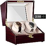 CHIYODA Automatic Double Watch Winder with Two Quiet Mabuchi Motors, LCD Digital Screen
