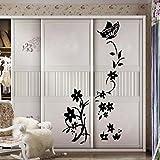 Kolylong-Stickers-Muraux-Flower-Vine-Chambre-RFrigRateur-Armoire-Decal-Sticker-Mural-Home-Decor-Noir-84CM55CM