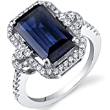 Created Sapphire Cocktail Ring Sterling Silver 4.50 Carats Octagon Cut Sizes 5 to 9