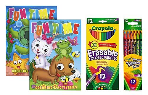 Crayola 12 Count Erasable Colored Pencils | Crayola Twistable Colored Pencil | 2 Children's Activity Coloring Books (Tamaño: Bundle)