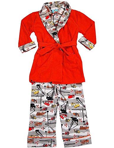 Bunz Kidz - Baby Boys 3 Piece Robe and Pajama Set, Orange, Grey 35525-18Months