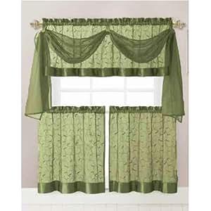 Vine Embroidered Kitchen Window Curtain Set 1 Valance With Voile Scarf 2 Tier
