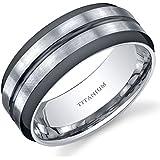 Revoni Two Tone comfort fit Mens 8mm Titanium Wedding Band Ring