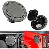 Opar Black Fuel Filler Door Cover Gas Tank Cap 4-Door 2-Door for 2007-2015 Jeep Wrangler JK & Unlimited