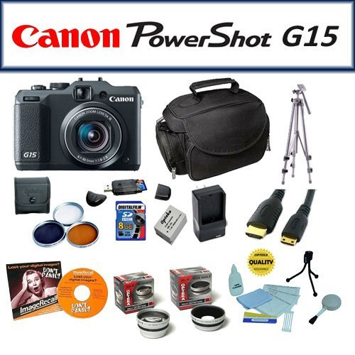Master Accessory Kit Package For The Canon Powershot G15 Featuring Canon Powershot G15 Digital Camera, Opteka Microfiber Deluxe Photo/Video Camera Bag, 8Gb High Speed Memory Card, Extra Battery Pack + 1 Hour AC/DC Battery Charger + More