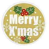 クリスマスシール☆ MerryXmas 柊 35㎜×35㎜ 150枚 金ツヤ紙