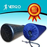 "Black High Density Foam Roller + Deluxe Drawstring Carrying Case - Extra Firm Roller - 6"" X 36"" Full Round"