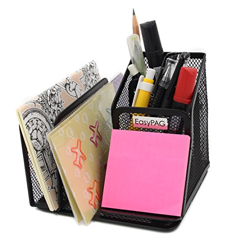 EasyPAG Mesh Collection Office Supplies Desk Organizer Sticky Note Pad / Phone Holder,Black Elegant Desk Accessories