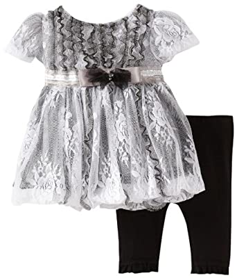 Nannette Baby-Girls Newborn 2 Piece Lace Dress Legging Set, Black, 3-6 Months