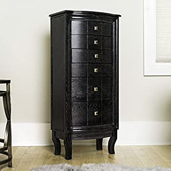Hives & Honey Natalie Large Black Jewelry Armoire Cabinet Standing Storage Chest Necklace Organizer with Mirror