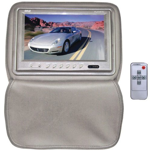 Pyle PL91HRTN Adjustable Headrests w/ Built-In 9'' TFT/LCD Monitor W/IR Transmitter & Cover (Tan)