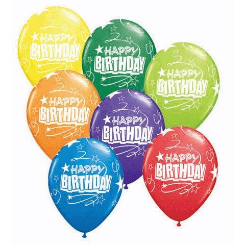 "11"" Birthday Loops & Stars Aro Latex Balloons (10 per package)"