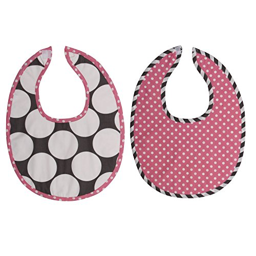 Bacati 2 Piece Dots/Pin Stripes Bibs Set, Grey/Pink - 1