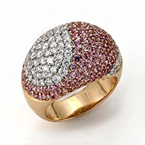 Samuel B. SoHo Boutique 18K Two Tone Gold Diamond & Pink Sapphire Dome Ring, size 6, 4.43 Tcw.