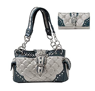 Women's Bling Buckle Quilted Shoulder Bag Purse and Matching Wallet Set
