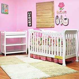 Athena Nadia Convertible Crib Set in White