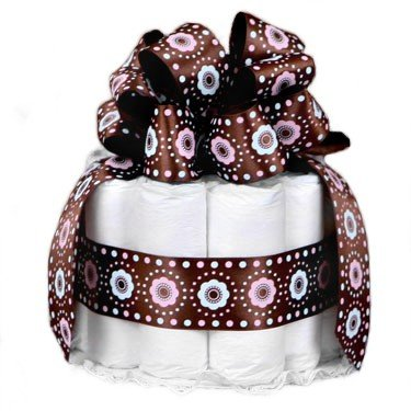 ... Brown 1 Tier New Baby Diaper Cake - Great Shower Gift Idea or Table