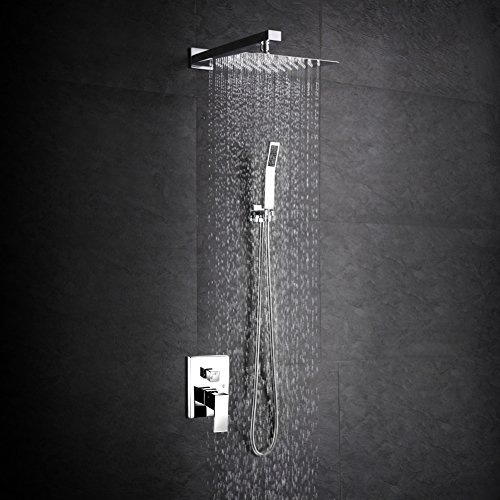 SR SUN RISE SRSH-F5043 Bathroom Luxury Rain Mixer Shower Combo Set Wall Mounted Rainfall Shower Head System Polished Chrome (Shower Head Square compare prices)