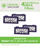 4 Neato Pet & Allergy Filters Designed To Fit Neato XV-11, XV-12, XV-15, XV-21 Robotic Floor Vacuums, Compare to Part # 945-0048, 9450048, Designed & Engineered By Crucial Vacuum
