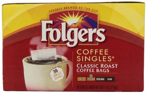 Folgers Coffee Singles Classic Roast Coffee Bags,38 Count, Net Wt. 6 Ounce