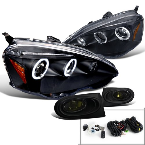 Acura RSX Black Dual Halo LED Projector Headlights+Smoke Fog Lights