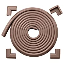 Roving Cove EXTRA DENSE / EXTRA LONG Safe Edge and Corner Cushion - 15ft (4.6m) Value Pack - Coffee; Premium Childproofing Edge Corner Guard - Child Safety Home Safety Furniture and Table Edge Corner Protectors