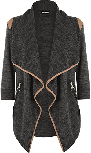 WearAll Women's Knitted Open Zip Pocket Long Sleeve Shoulder Top Cardigan - Black - 12-14