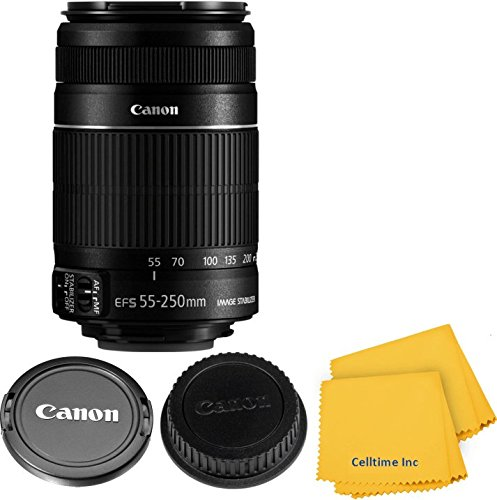 Canon EF-S 55-250mm f/4-5.6 IS II Zoom Lens for Canon EOS 7D, 60D, EOS Rebel SL1, T1i, T2i, T3, T3i, T4i, T5i, XS, XSi, XT, XTi Digital SLR Cameras w/Celltime Cleaning Cloth