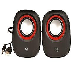Q3 USB Powered RZ-380 Multimedia 2.0 Portable Laptop/Desktop Speaker(Red, Black, 2.0 Channel)