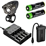 Fenix BT20 750 lumens Dual Distance Beam Cree LED 5 Mode Bike Bicycle Light with EdisonBright 4 bay Smart Battery Charger and 2 X EdisonBright EBR26 2600mAh 18650 rechargeable batteries bundle