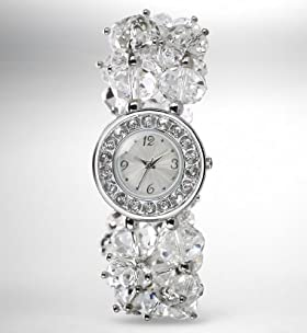Round Face Diamanté Bunch Bracelet Watch