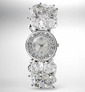 Round Face Diamanté Bunch Bracelet Watch