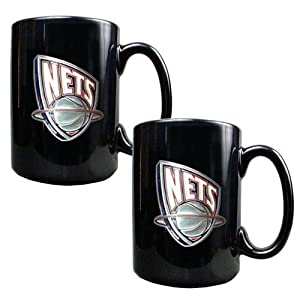 New Jersey Nets Nba 2Pc Black Ceramic Mug Set - Primary Logo by Great American Products