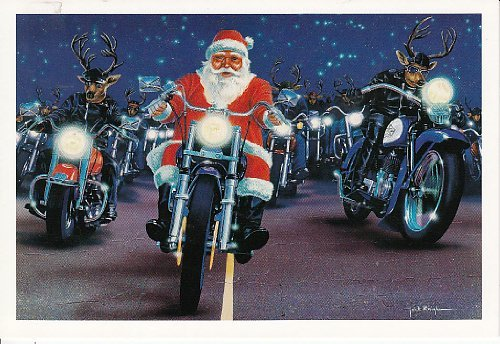 Harley Davidson Christmas Cards, Santa and Reindeer Pack, Pack of 10 with envelopes