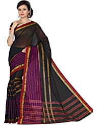 Aadarshini Women's Cotton Sarees (110000000486, Black & Purple)
