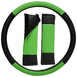 See OxGord Leatherette Steering Wheel Cover, Green & Black Details