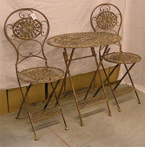 Jugendstil Gartenmöbel Set Kupferfarben – 1 Tisch, 2 Stühle – Metall – Garten Möbel Garnitur günstig online kaufen