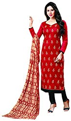 Go Traditional Women's Jacquard Unstitched Dress Material (Red)