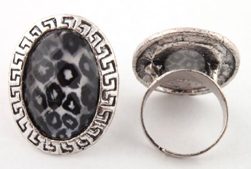 Ladies Silver Oval Shape with Leopard Print Center & Mayan Style Outline Metal Adjustable Finger Ring