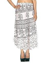 Gypsy Sarong Rayon Casual Skirt White Calf Elephant Hand Block Printed By Rajrang