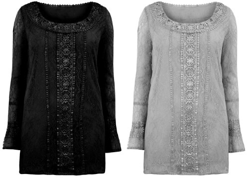 Ladies Plus Size Black & Grey Lace Detail Long Sleeve Tunic Top #603 #596