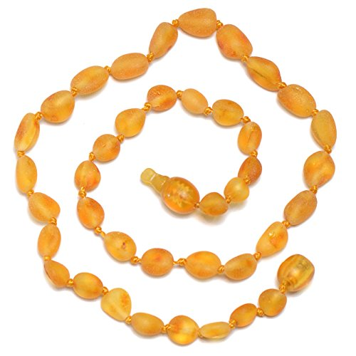 Hand Made Baltic Amber Teething Necklace for Babies - Safety Knotted - Tension Release Safety Clasp - 1