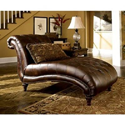 Ashley Furniture Signature Design- Claremore Chaise Lounge with one Accent Pillow- Grand Elegance- Antique Brown