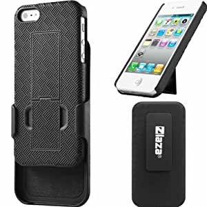 Laza Shell Holster Combo Case for Apple iPhone 5 with Kick-Stand & Belt Clip (At&t, Verizon, T-Mobile, Sprint, INternational)
