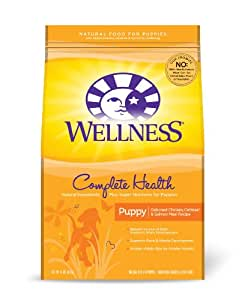 Wellness Complete Health Natural Dry Dog Food, Puppy Health Chicken, Oatmeal & Salmon Recipe, 15-Pound Bag