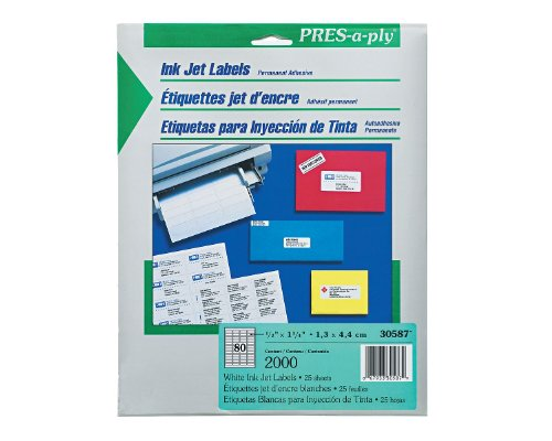 Pres-A-Ply Inkjet Address Labels, 0.5 X 1.75 Inches, White, Box Of 2000 (30587)