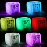Jago - Réveil cube lumineux - 7 couleurs de lumière LED changeantes - 8 mélodies - date et température affichées